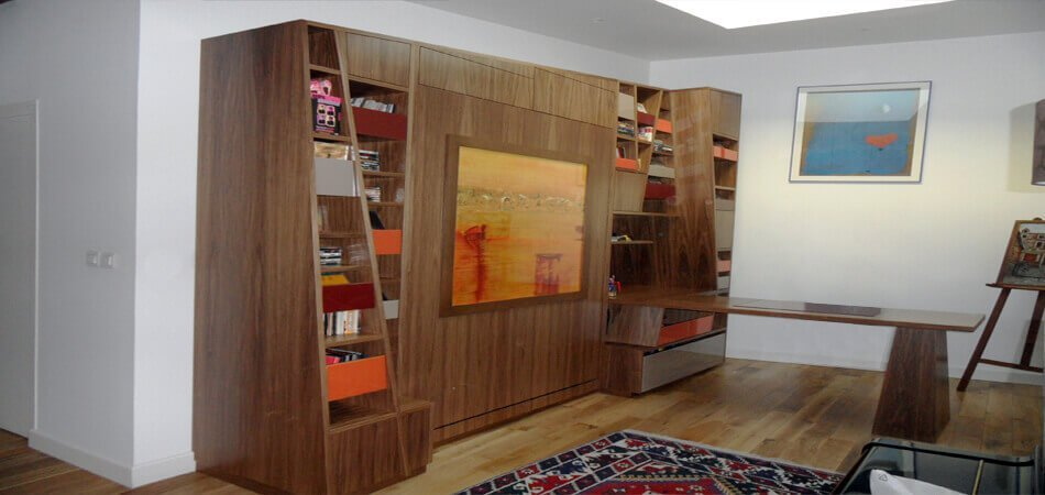 Am nagement int rieur mobilier sur mesure 44 wood al for Bibliotheque avec bureau integre
