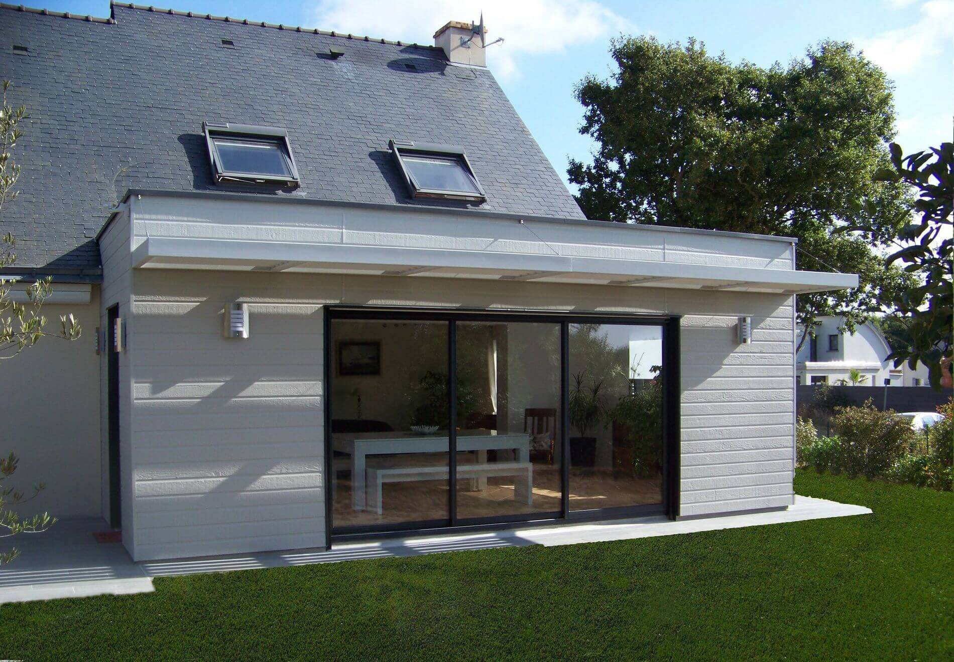 Extension ossature bois gu rande r alisation wood al for Agrandissement maison 80m2