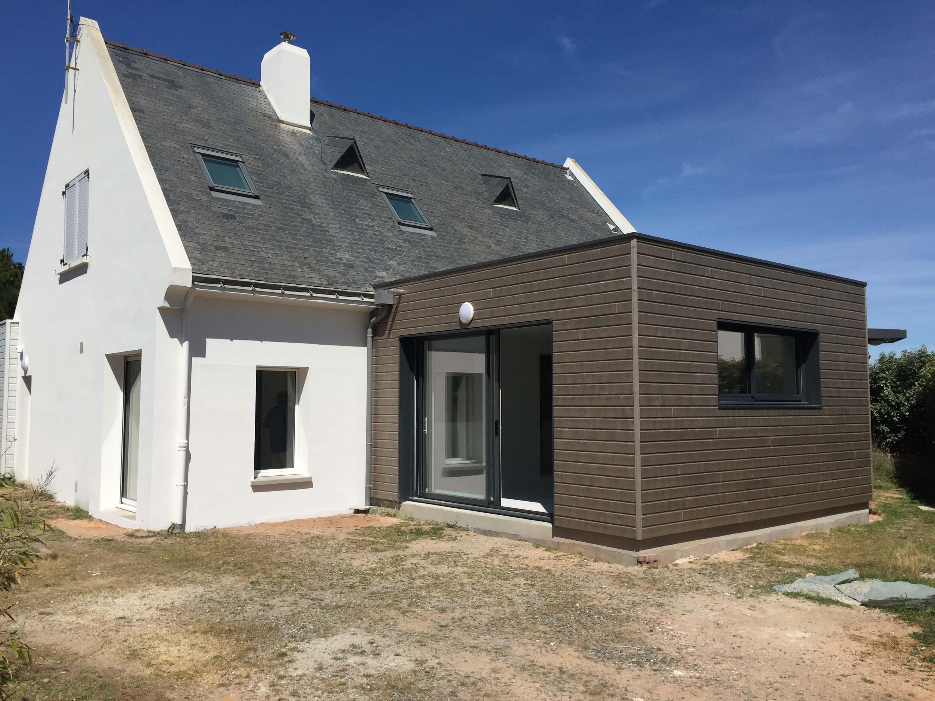 Extension d 39 une maison 125 m2 gu rande 44 wood al for Interieur d une maison